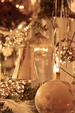 Close-up of gold decoration on Christmas tree Stock Photo - 7930553