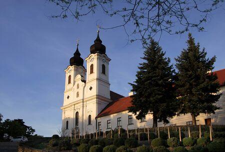 Towers of the Abbey Church in Tihany at Lake Balaton, Hungary photo