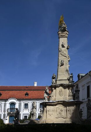 castle district: Pillar of the Holy Trinity in the Castle District in Veszprem, Hungary Stock Photo
