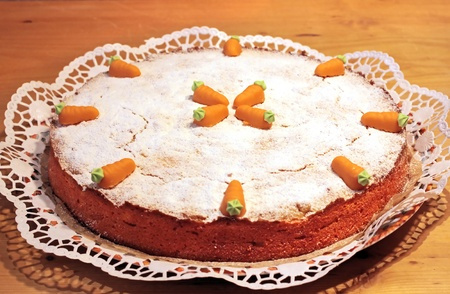 marzipan: Close up of Carrot cake with marzipan carrots