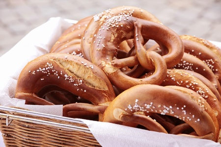 Close up of a tray with many pretzels photo