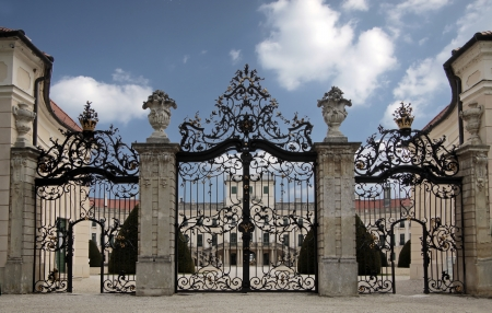 Entrance of the Palace of  Esterhazy in northern Hungary photo