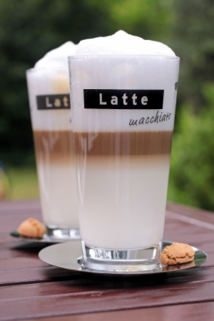 Close-up of two glasses with latte macchiato