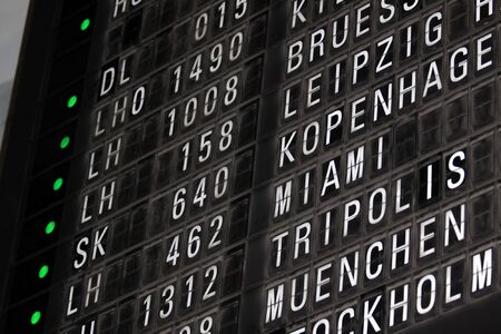 departure board: Old-fashioned departure board at Frankfurt Airport, Germany Editorial