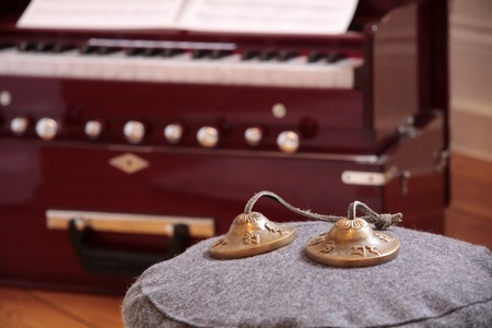 Harmonium and cymbal as decoration in a yoga room