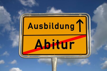 apprenticeship: German road sign graduation and apprenticeship with blue sky and white clouds