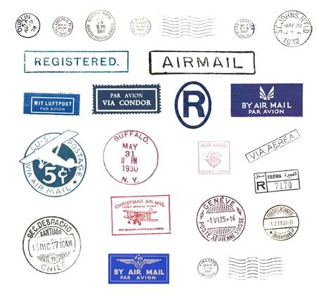 timbre postal: Vintage sellos y etiquetas de correo aéreo de todo el mundo
