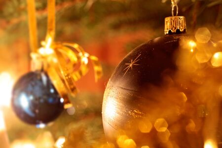 Close-up of gold decoration on Christmas tree Stock Photo - 10670136