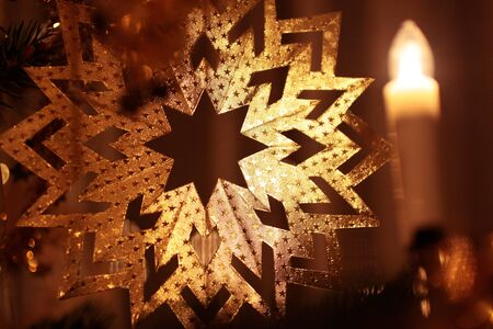 Close-up of gold decoration on Christmas tree Stock Photo - 10670138