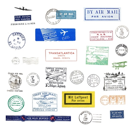 Vintage postage stamps and airmail labels from all over the world photo