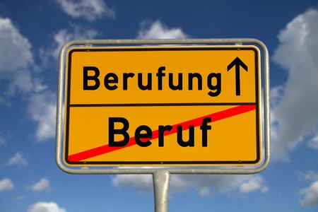 arbeit: German road sign  profession and mission with blue sky and white clouds