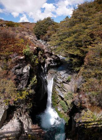 Waterfall in Tongariro National Park, Manawatu-Wanganui, New Zealand photo