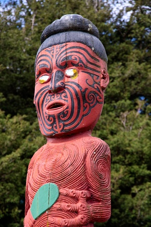 Colored Maori statue in Rotorua, New Zealand