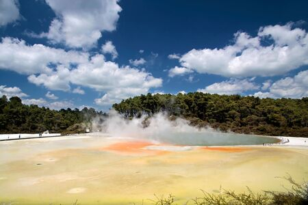 Champagne Pool at Wai-o-Tapu geothermal area in Rotorua, North Island, New Zealand photo