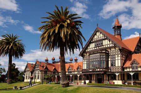 tudor: Former Bath House Tudor Towers, Rotorua, New Zealand Stock Photo