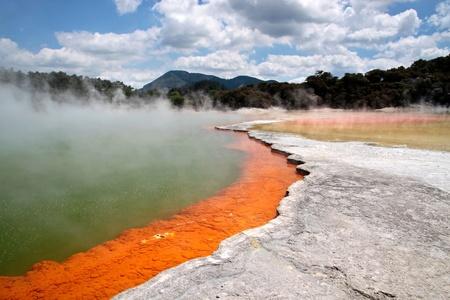 Champagne Pool at Wai-o-Tapu geothermal area in Rotorua, North Island, New Zealand photo