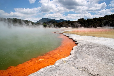 Champagne Pool at Wai-o-Tapu geothermal area in Rotorua, North Island, New Zealand