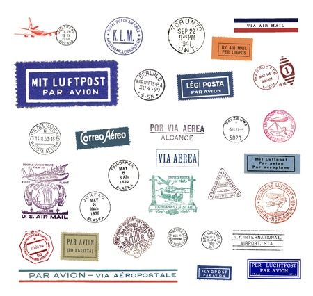 aerea: Vintage postage stamps and airmail labels from all over the world