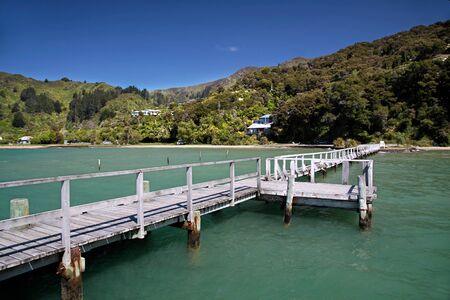 Landing stage in the Marlborough Sounds, New Zealand photo