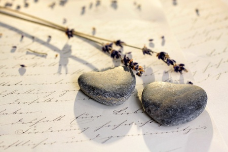 Stone hearts with old letter and lavender Stock Photo - 11931973