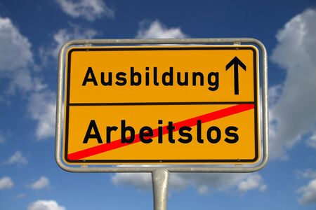 German road sign unemployed and apprenticeship with blue sky and white clouds photo