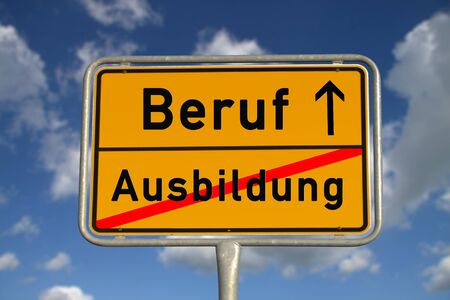 apprenticeship: German road sign apprenticeship and profession with blue sky and white clouds