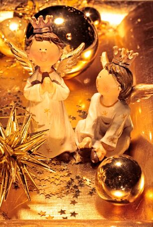 Bowl with golden Christmas decoration  star and Christms balls Stock Photo - 12638264