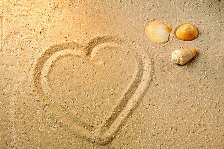 love proof: Heart shape in sand