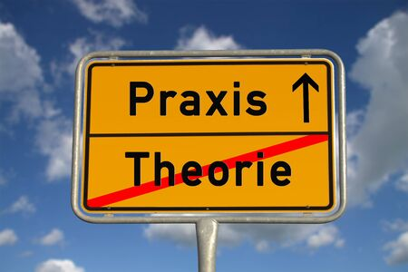 German road sign theory and praxis with blue sky and white clouds Stock Photo - 13004119