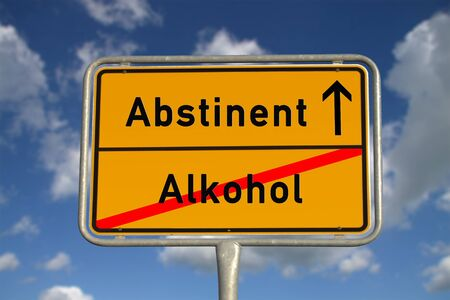 abstinence: German road sign abstinent alcohol  with blue sky and white clouds