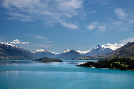 Mountain range and Lake Wakatipu between Queentown and Glenorchy, Otago, South island,  New Zealand