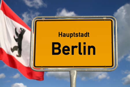 German road sign Capital berlin with flag, blue sky and white clouds Stock Photo - 13242375