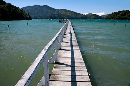 landing stage: Landing stage in the Marlborough Sounds, New Zealand Stock Photo