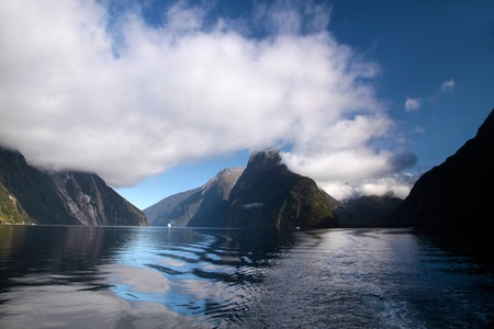 fiordland: Mitre Peak in the Milford Sound, Southland, South island,  New Zealand