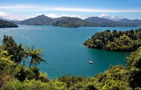 zealand: Marlborough Sounds near Picton, South Island, New Zealand Stock Photo