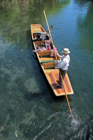 punting: Barge on the River Avon in Christchurch, Canterbury, South Island,  New Zealand Stock Photo