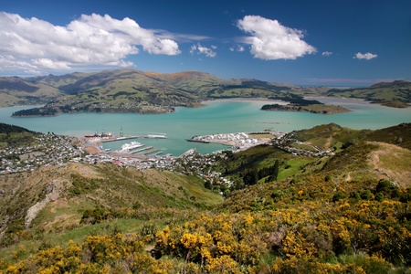 View over Lyttelton from Port Hills, Christchurch, Canterbury, South Island, New Zealand