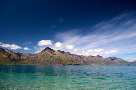 Lake Wakatipu between Queentown and Glenorchy, Otago, South island,  New Zealand Stock Photo - 13697552