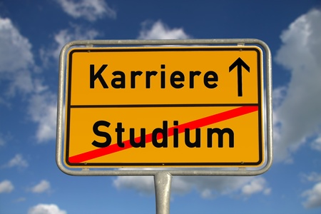 collegian: German road sign study and career with blue sky and white clouds Stock Photo