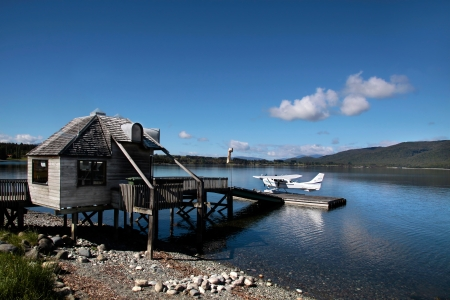 hydroplane: Flying boat on the Lake Te Anau, South island,  New Zealand Stock Photo