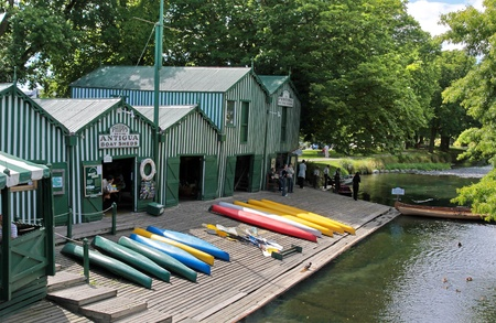 Antigua Boat sheds at the river Avon in  Christchurch, Canterbury, South Island,  New Zealand