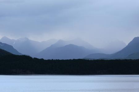 soppy: Manapouri Lake in the rain Stock Photo