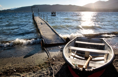 Waterside of Te Anau,  Southland, South island,  New Zealand photo