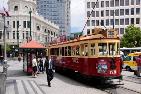 Christchurch Tram at the Cathedral Square Stock Photo - 14175192