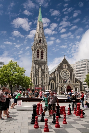 quake: Christchurch Cathedral and Cathedral Square before the Earth quake, New Zealand