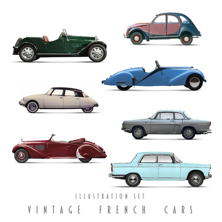 car side view: Illustration Set Vintage French cars Stock Photo