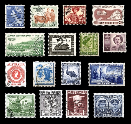 Various stamps from Australia from the 40s and 50s showing national symbols