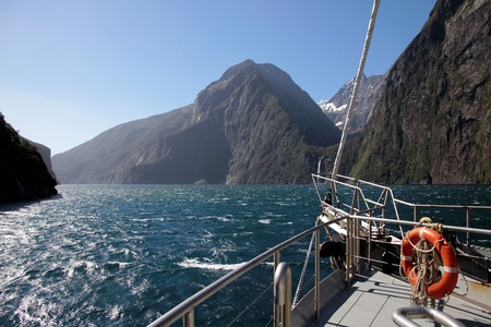 inlet bay: On a boat in the Milford Sound, Southland, South island,  New Zealand