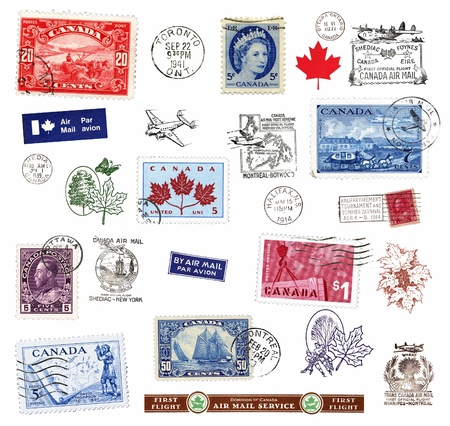 Postage stamps and  labels from Canada, mostly vintage, showing airmail motifs and national symbols