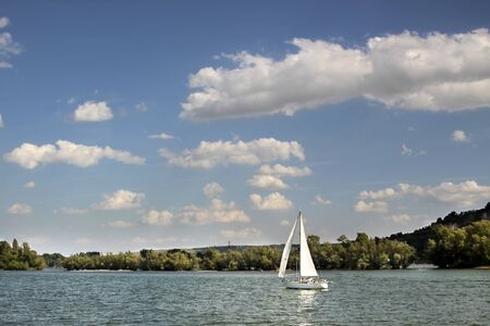 hesse: Sailing boat on the Rhine near Ruedesheim in the Rheingau, Hesse, Germany